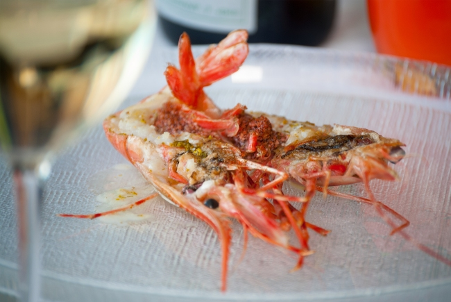 Spot Prawns George's at the Cove - California Modern