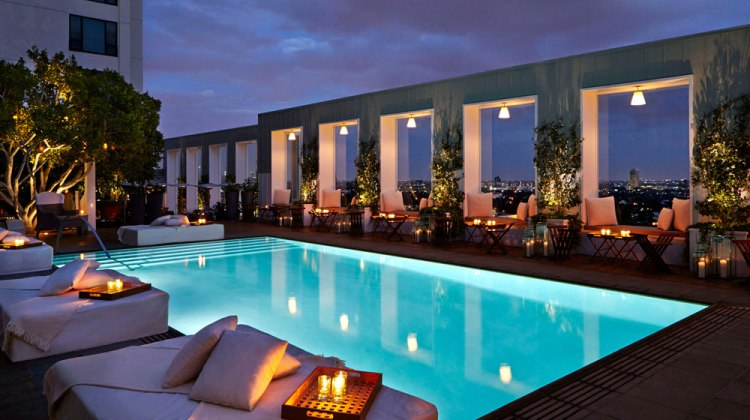Mondrian Los Angeles West Hollywood Pool Night