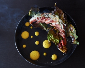 BLUE MARLIN IBIZA Grilled octopus with yellow pepper emulsion and lemon leaves