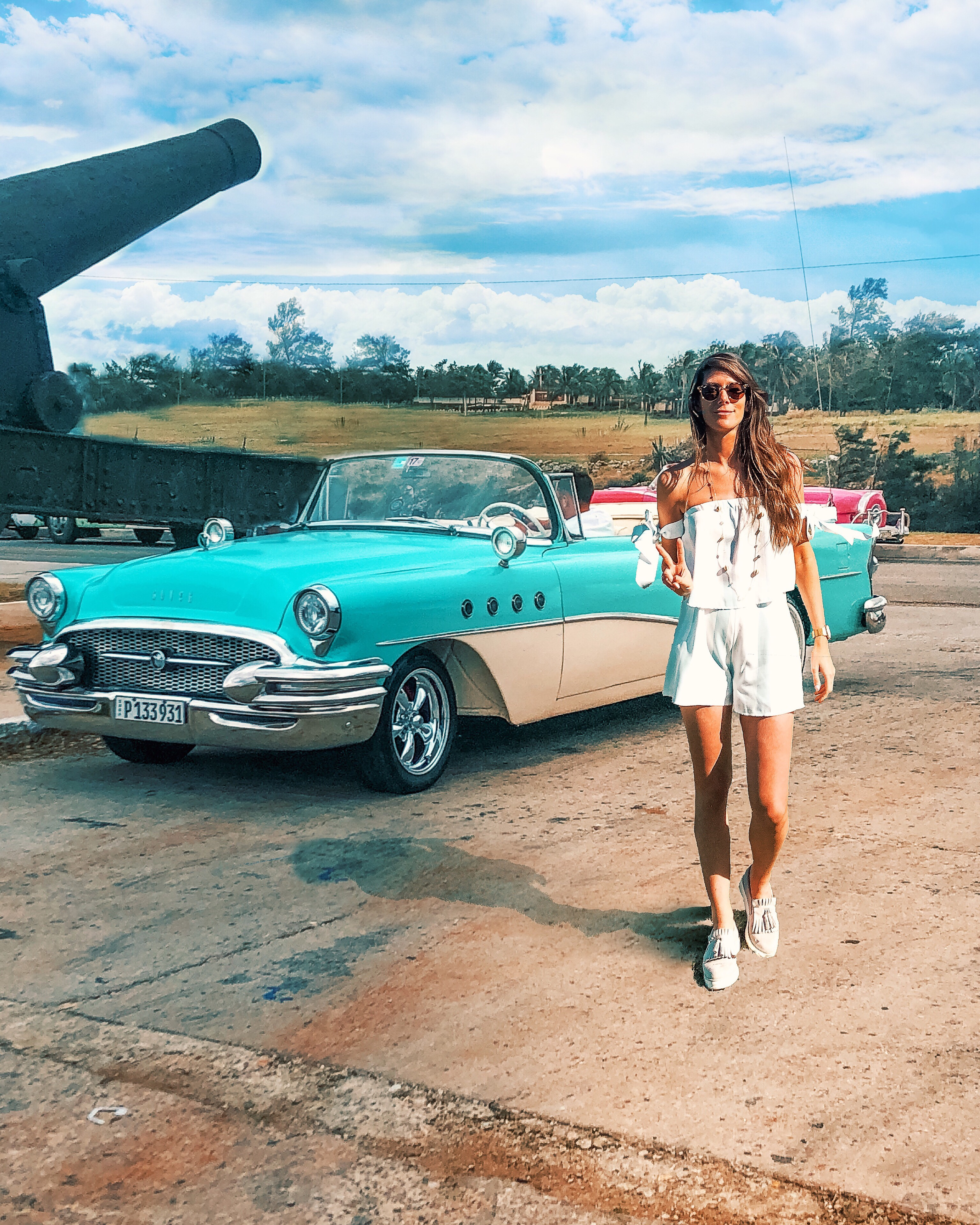 Havana Cuba Sunset Cadillac Buick Car Girl
